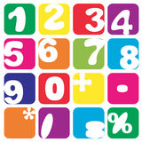 Numbers set. Funny handmade numbers in squares  on white Stock Photo