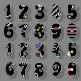 Numbers Set. Black Signs with Bright Decor Stock Image