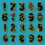 Numbers Set. Black Signs with Colorful Decor Stock Photography