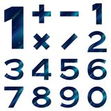 Numbers set, blue space Royalty Free Stock Photos