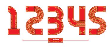 Numbers chinese style in a set 12345. Numbers in a set 1,2,3,4,5, Chinese with red and yellow line markings on white background Royalty Free Stock Images