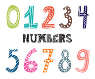 Numbers set. Collection of cute colorful numbers Stock Photography