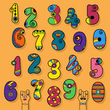 Numbers Set. Colorful Disco and Superhero Style Stock Images