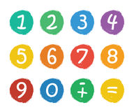 Numbers set. Colorful icons with numbers isolated on white background Stock Images