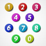 Numbers set, colorful web icon Royalty Free Stock Photography