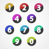 Numbers set, colorful web icon Stock Images