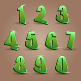 Numbers. Set in glittering green metal modern style. Vector illustration Stock Photography