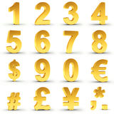 Numbers Set in Gold with clipping path. Set of golden numbers and currency symbols over white background with clipping path for each item for fast and accurate Stock Photos