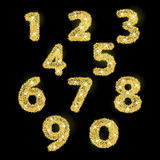Numbers set in golden style. Vector illustration Royalty Free Stock Images