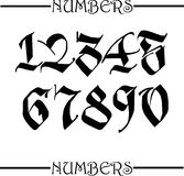 Numbers. Set of gothic style numbers vector illustration