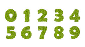 Numbers set from the green grass, isolated on white Royalty Free Stock Photo