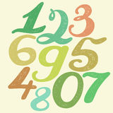 Numbers set in hand drawn calligraphy style. Royalty Free Stock Image