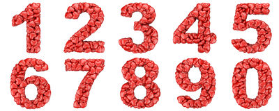 Numbers set from hearts Stock Photos