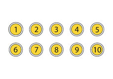 Numbers Set Icons. Isolated on white background. Number in the yellow circles Royalty Free Stock Photography