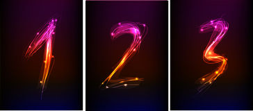 Numbers set made of neon light Royalty Free Stock Photos