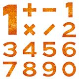 Numbers set, orange lava Stock Images
