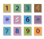 Numbers set on paper cut Royalty Free Stock Image