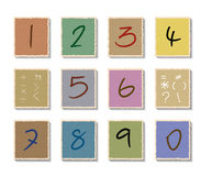 Numbers set on paper cut Stock Photography