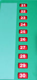 Numbers. Set of red colorl numbers from 21 to 30 royalty free stock photo