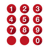 Numbers set red. Vector flat design. Isolated Stock Photos
