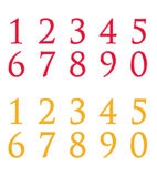 Numbers set of red and yellow colors. Isolated on white backgrounds Stock Illustration