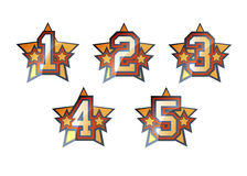 Numbers set. Shiny stars numbers set - frome one to five Royalty Free Stock Photos