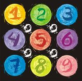 Numbers set in the splash colored circles Stock Photo