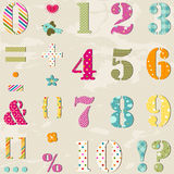 Numbers set. Textured numbers set and signs Royalty Free Illustration