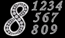 Numbers set, from 1 to 9, silver with diamonds. Vector royalty free illustration