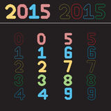 Numbers set. Vector. Set of colorful numbers . Vecter royalty free illustration