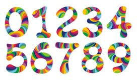 Numbers set. Vector illustrations. Number from 0 to 9 in chrome over white background Stock Photography