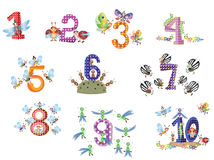 Numbers Set With Insects Stock Photography