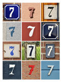 Numbers Seven. Collage of House Numbers Seven Royalty Free Stock Photography