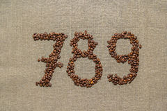 Numbers seven, eight, nine from coffee beans Royalty Free Stock Photos