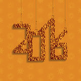 The numbers 2016 with shadow. A bright orange color. The snowflakes on the background. New year's day. The texture of the skin. Vector illustration Royalty Free Stock Images