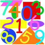 Numbers and shapes. Colorful maths numbers and shapes on white background Stock Photo