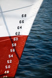Numbers of ships depth gauge. Numbers on a ships prow used as a depth gauge. White and red ships prow against blue wavy water Royalty Free Stock Photos
