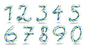 Numbers Sign Set Vector. 3D Numerals. Figures 1, 2, 3, 4, 5, 6, 7, 8, 9, 0. Christmas Colours. Blue, Green Striped. Numbers Sign Set Vector. 3D Numerals. Figures Stock Image