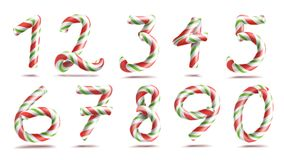 Numbers Sign Set Vector. 3D Numerals. Figures 1, 2, 3, 4, 5, 6, 7, 8, 9, 0. Christmas Colours. Red, Green Striped. Numbers Sign Set Vector. 3D Numerals. Figures Royalty Free Stock Photography