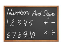 Numbers and signs on blackboard. Numbers and signs on a chalkboard illustration stock illustration