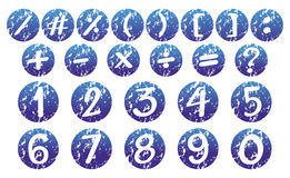 Numbers and signs on blue badges. Illustration Stock Image