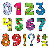 Numbers and signs. Math symbols funny set with animal footprints Stock Photos