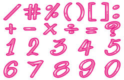 Numbers and signs in pink Royalty Free Stock Image