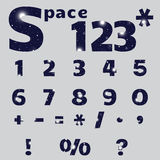 The numbers, signs and symbols in the space style. Numbers, signs and symbols in dark blue. Space design. The numbers, signs and symbols in the space style. The Stock Image