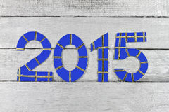 2015 numbers on silver painted clapboard Royalty Free Stock Images
