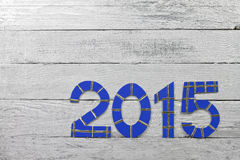 Numbers 2015 on a silver painted clapboard Stock Photography