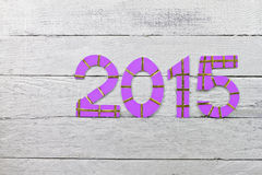 Numbers 2015 on a silver painted clapboard Stock Photos