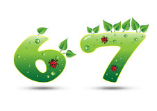 Numbers Six and Seven Green Nature Concept vector illustration