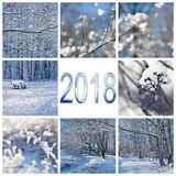 2018, snow and winter landscapes square greeting card. 2018 numbers, snow and winter landscapes square greeting card royalty free stock image