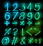 Numbers in sparkling neon colors Stock Images